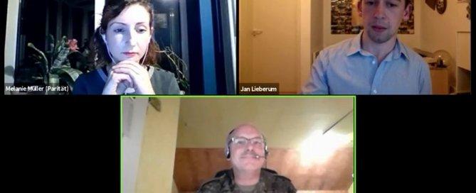 Online Austausch zum Thema Freiwilligendienste zwischen Melanie Müller, Jan Lieberum und Lutz Meier